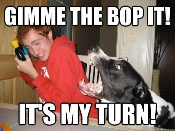Angry Dog Meme - Gimme the bop it! It's my turn!